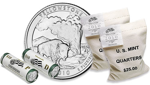 Yellowstone National Park Quarter, Two-Roll Set and 100-Coin Bags