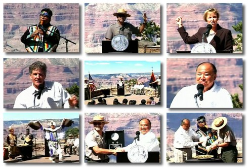 Grand Canyon National Park Quarter Ceremony Photos. From left to right,  Native American performer A. Brent Chase; Grand Canyon National Park Superintendent Steve Martin; Arizona State Parks Director Renée Bahl; Author and Historian Scott Thybony; US Mint Director Ed Moy, and the Pollen Trail Dancers.