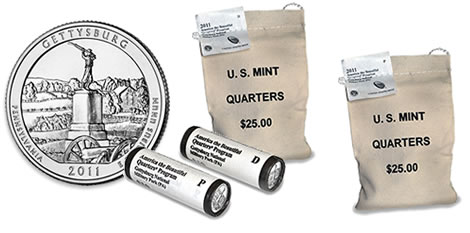 2011 Gettysburg National Military Park Quarter Rolls and Bags