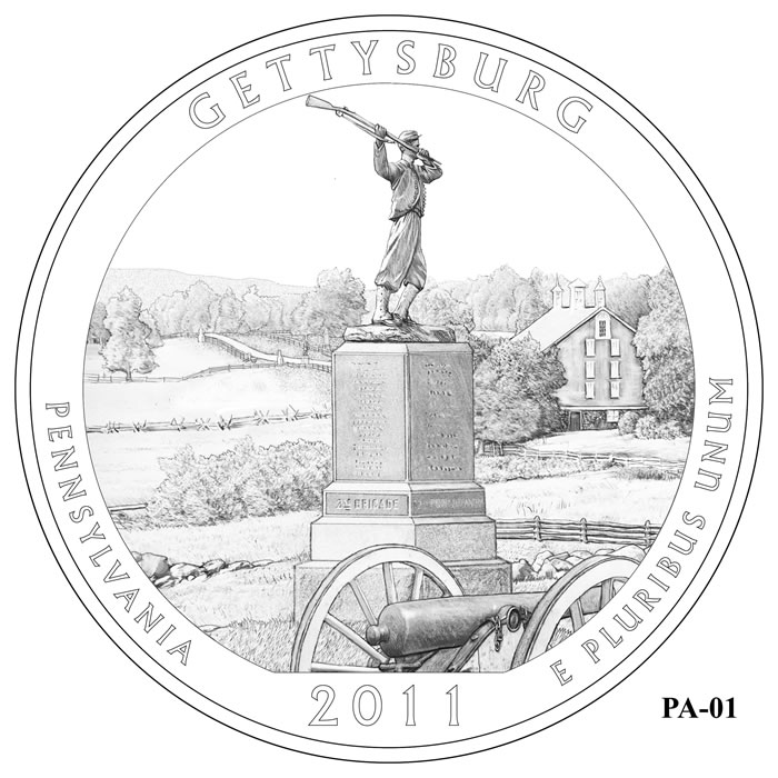 Gettysburg National Military Park Quarter Design PA-01 (Click to Enlarge)