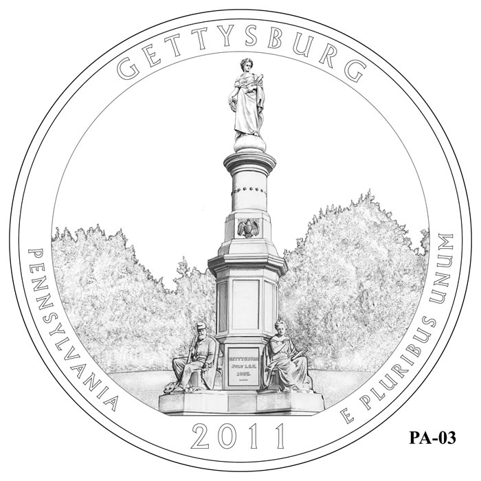 Gettysburg National Military Park Quarter Design PA-03 (Click to Enlarge)