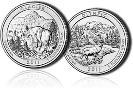 Glacier National Park Quarter and  Olympic National Park Quarter