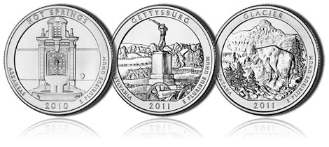 Hot Springs, Gettysburg and Glacier National Park Coins
