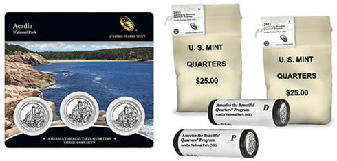 Acadia National Park Quarters in Three-Coin Set, Rolls and Bags