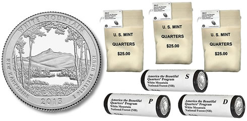 2013 White Mountain National Forest Quarters in Bags and Rolls