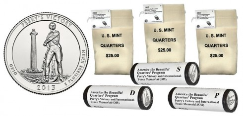 Perry's Victory Quarters in U.S. Mint Rolls and Bags