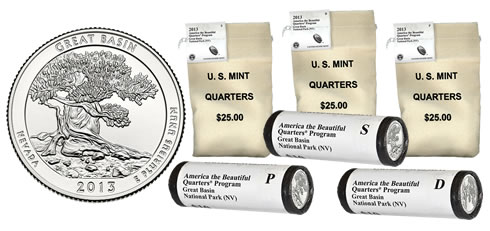 Rolls and Bags of Great Basin Quarters