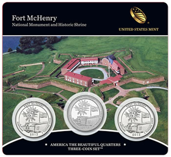 2013 Fort McHenry Quarters Three-Coin Set - Front