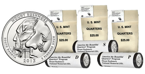 Rolls and Bags of Mount Rushmore National Memorial Quarters
