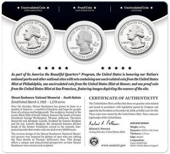 Mount Rushmore Quarters Three-Coin Set (Back)