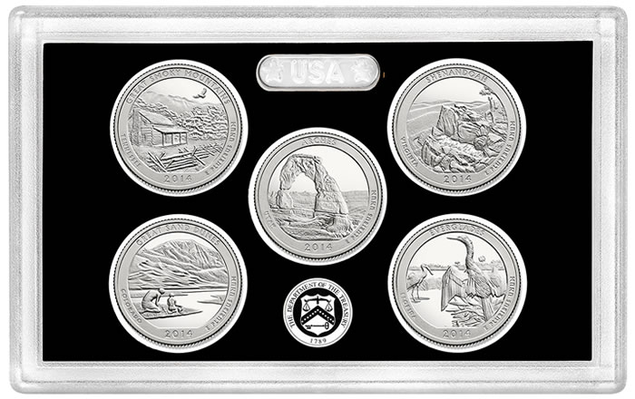 2014 ATB NATIONAL PARK QUARTERS 5-COIN CLAD PROOF SET ~ GROUP OF 5 SETS!