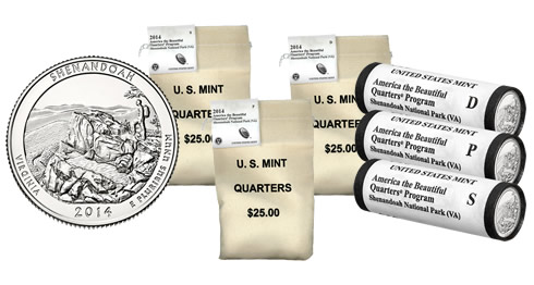 Shenandoah National Park Quarters in Rolls and Bags