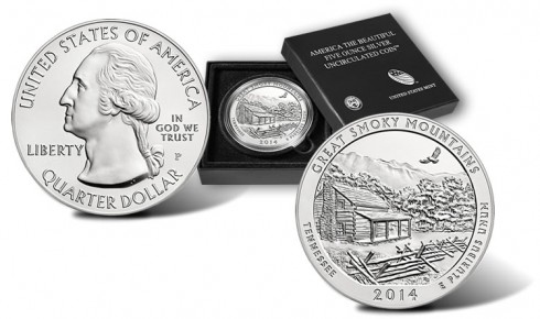 Great Smoky Mountains National Park Five Ounce Silver Uncirculated Coin