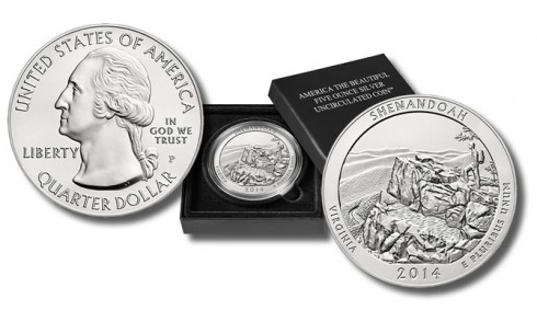 2014-P Uncirculated Shenandoah National Park Five Ounce Silver Coin