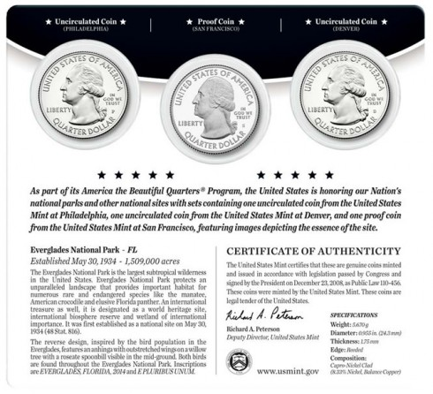 Back of 2014 Everglades National Park Quarters Three-Coin Set