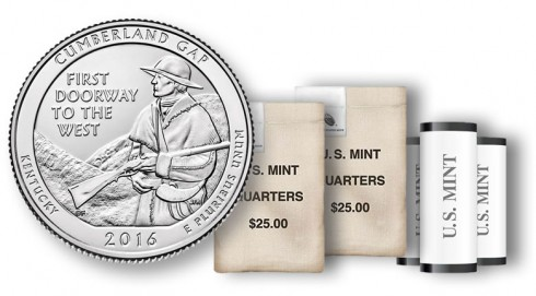 Cumberland Gap National Historical Park quarter in rolls and bags