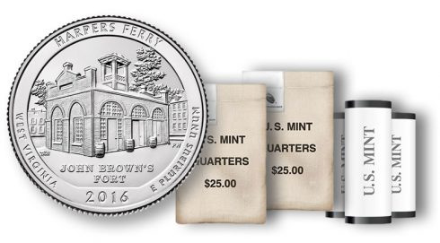 Harpers Ferry National Historical Park Quarters in rolls and bags
