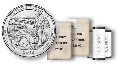 Theodore Roosevelt National Park Quarter in rolls and bags