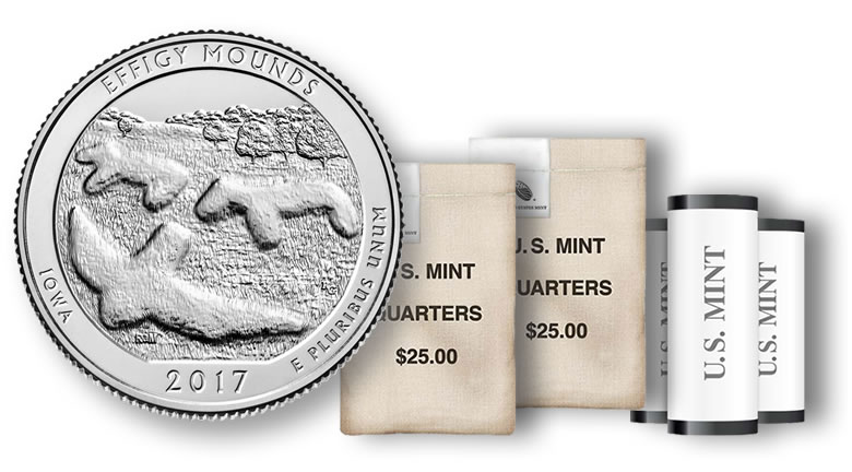 2017 Effigy Mounds Quarters For Iowa In Rolls And Bags