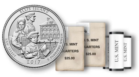 Ellis Island quarter in rolls and bags
